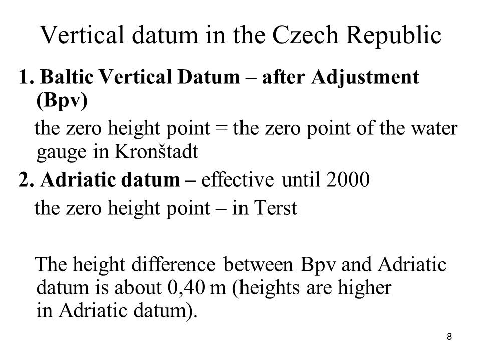Vertical datum in the Czech Republic 1.