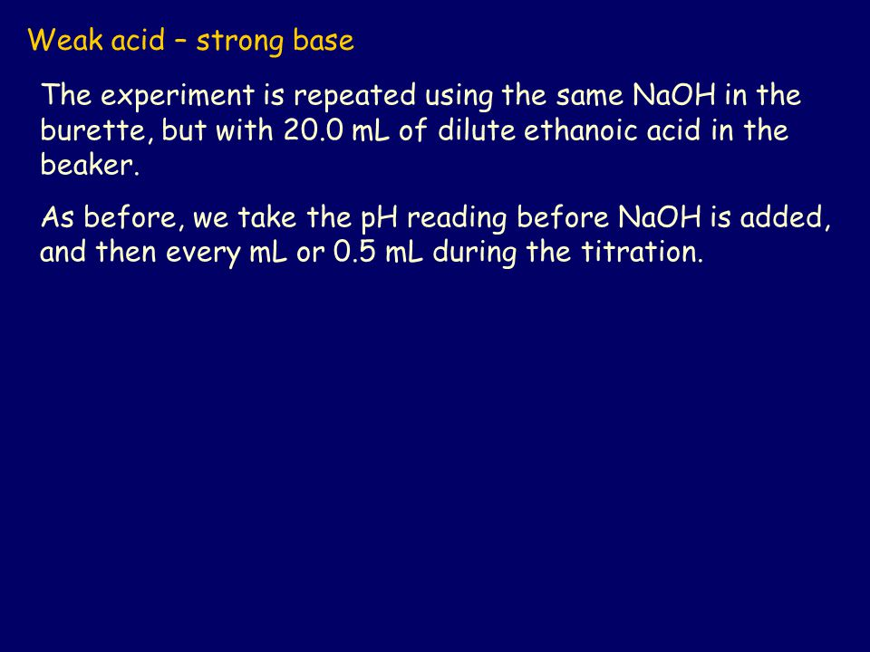 Weak acid – strong base The experiment is repeated using the same NaOH in the burette, but with 20.0 mL of dilute ethanoic acid in the beaker. As befo