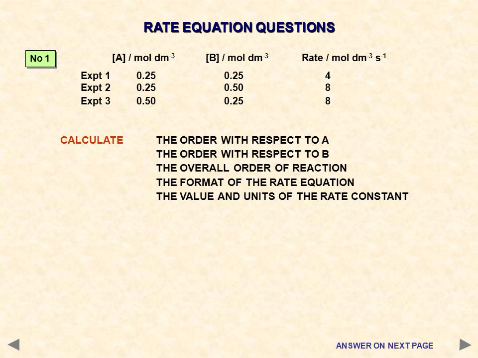 RATE EQUATION QUESTIONS CALCULATETHE ORDER WITH RESPECT TO A THE ORDER WITH RESPECT TO B THE OVERALL ORDER OF REACTION THE FORMAT OF THE RATE EQUATION THE VALUE AND UNITS OF THE RATE CONSTANT ANSWER ON NEXT PAGE [A] / mol dm -3 [B] / mol dm -3 Rate / mol dm -3 s -1 Expt 1 0.250.25 4 Expt 2 0.250.50 8 Expt 3 0.500.25 8 No 1