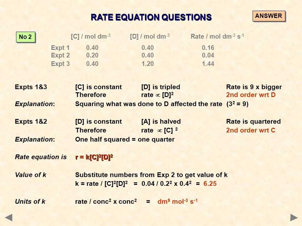 RATE EQUATION QUESTIONS [C] / mol dm -3 [D] / mol dm -3 Rate / mol dm -3 s -1 Expt 1 0.400.400.16 Expt 2 0.200.400.04 Expt 3 0.401.201.44 No 2 Expts 1&3[C] is constant [D] is tripledRate is 9 x bigger Therefore rate  [D] 2 2nd order wrt D Explanation:Squaring what was done to D affected the rate (3 2 = 9) Expts 1&2[D] is constant [A] is halvedRate is quartered Therefore rate  [C] 2 2nd order wrt C Explanation:One half squared = one quarter r = k[C] 2 [D] 2 Rate equation isr = k[C] 2 [D] 2 Value of kSubstitute numbers from Exp 2 to get value of k k = rate / [C] 2 [D] 2 = 0.04 / 0.2 2 x 0.4 2 = 6.25 Units of krate / conc 2 x conc 2 = dm 9 mol -3 s -1 ANSWER