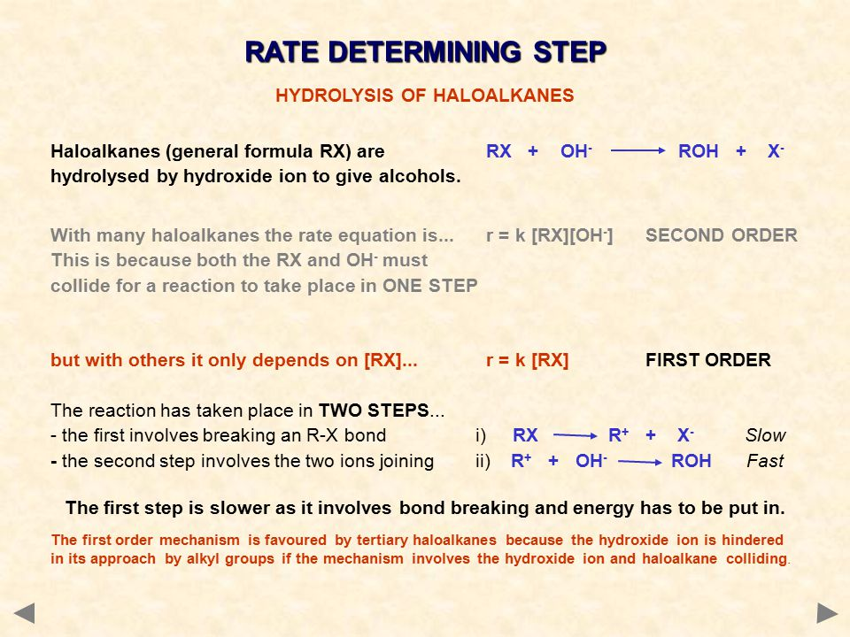 RATE DETERMINING STEP HYDROLYSIS OF HALOALKANES Haloalkanes (general formula RX) are RX + OH - ROH + X - hydrolysed by hydroxide ion to give alcohols.