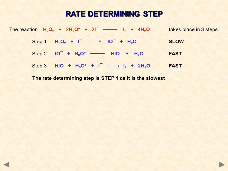 RATE DETERMINING STEP The reaction H 2 O 2 + 2H 3 O + + 2I¯ I 2 + 4H 2 O takes place in 3 steps Step 1H 2 O 2 + I¯ IO¯ + H 2 O SLOW Step 2IO¯ + H 3 O + HIO + H 2 O FAST Step 3HIO + H 3 O + + I¯ I 2 + 2H 2 O FAST The rate determining step is STEP 1 as it is the slowest