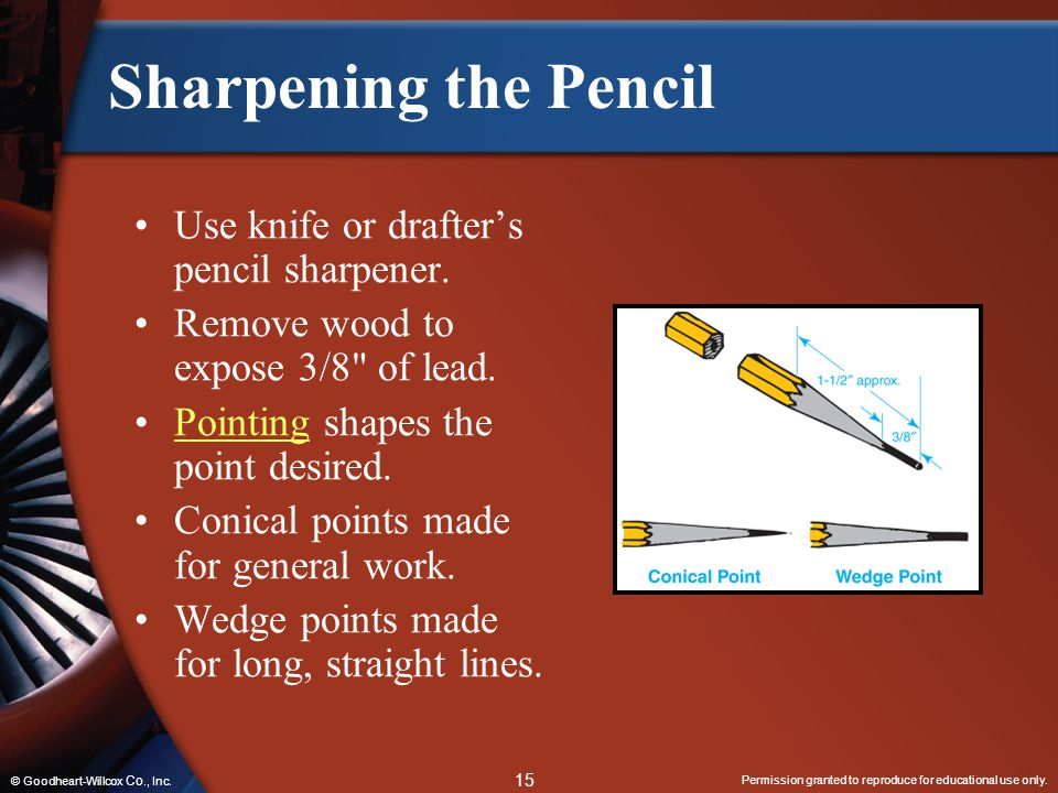 Permission granted to reproduce for educational use only. 15 © Goodheart-Willcox Co., Inc. Sharpening the Pencil Use knife or drafter's pencil sharpen