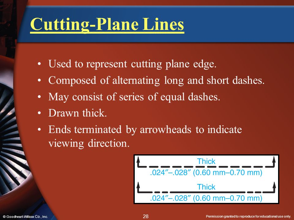 Permission granted to reproduce for educational use only. 28 © Goodheart-Willcox Co., Inc. Cutting-Plane Lines Used to represent cutting plane edge. C