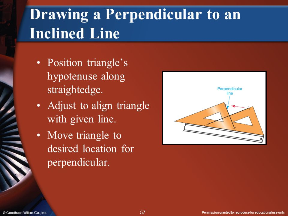 Permission granted to reproduce for educational use only. 57 © Goodheart-Willcox Co., Inc. Drawing a Perpendicular to an Inclined Line Position triang