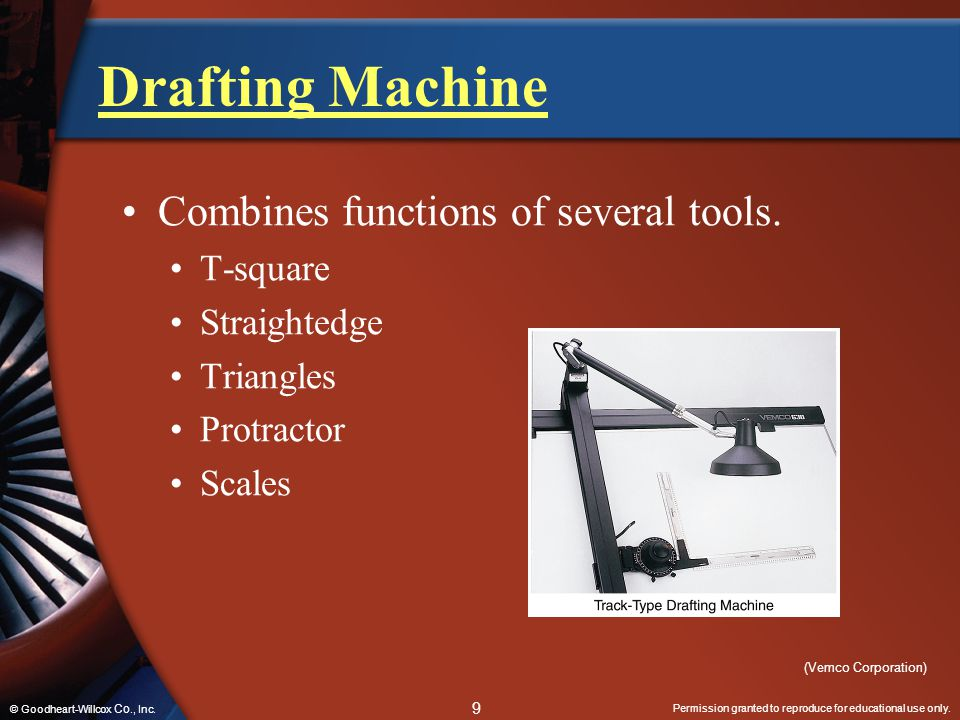 Permission granted to reproduce for educational use only. 9 © Goodheart-Willcox Co., Inc. Drafting Machine Combines functions of several tools. T-squa