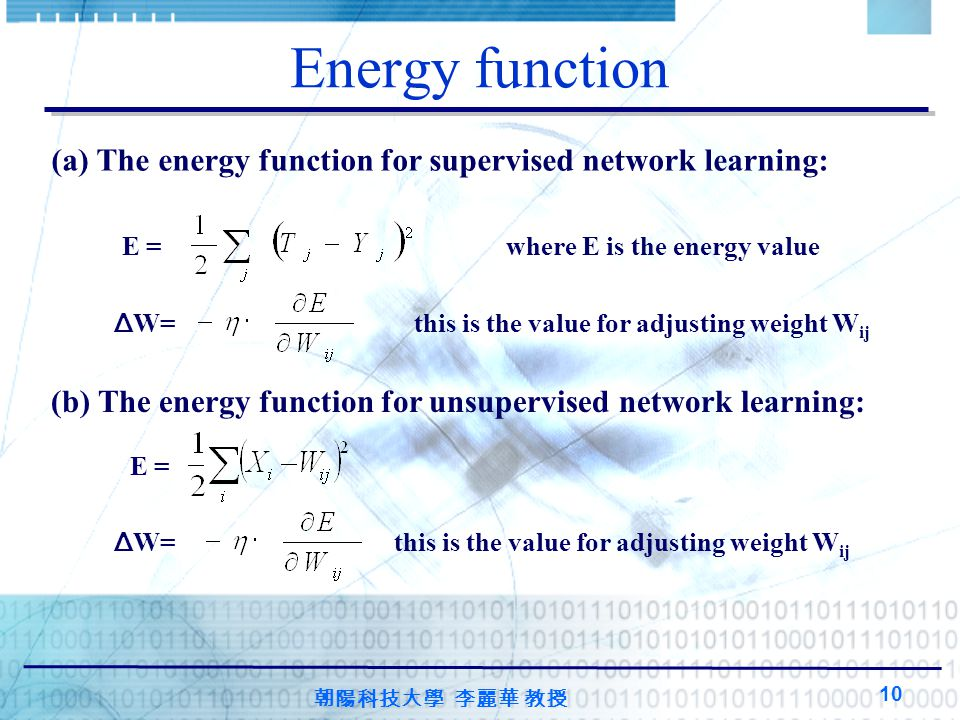 朝陽科技大學 李麗華 教授 10 Energy function (a) The energy function for supervised network learning: E = where E is the energy value Δ W= this is the value for adjusting weight W ij (b) The energy function for unsupervised network learning: E = Δ W= this is the value for adjusting weight W ij