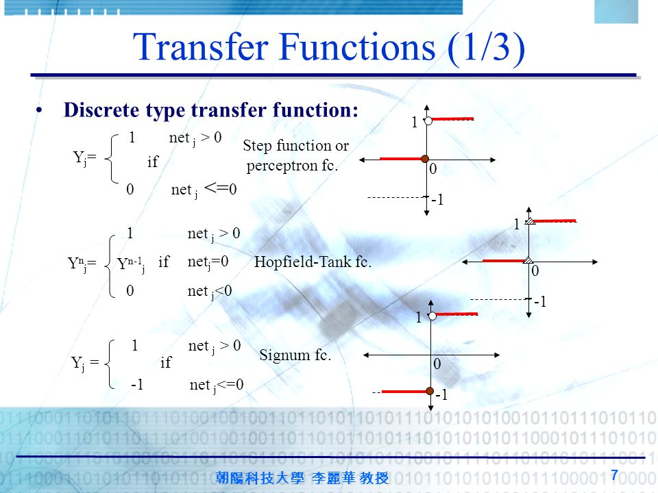 朝陽科技大學 李麗華 教授 7 Transfer Functions (1/3) Discrete type transfer function: 1 net j > 0 0 net j <= 0 if Yj=Yj= Step function or perceptron fc.
