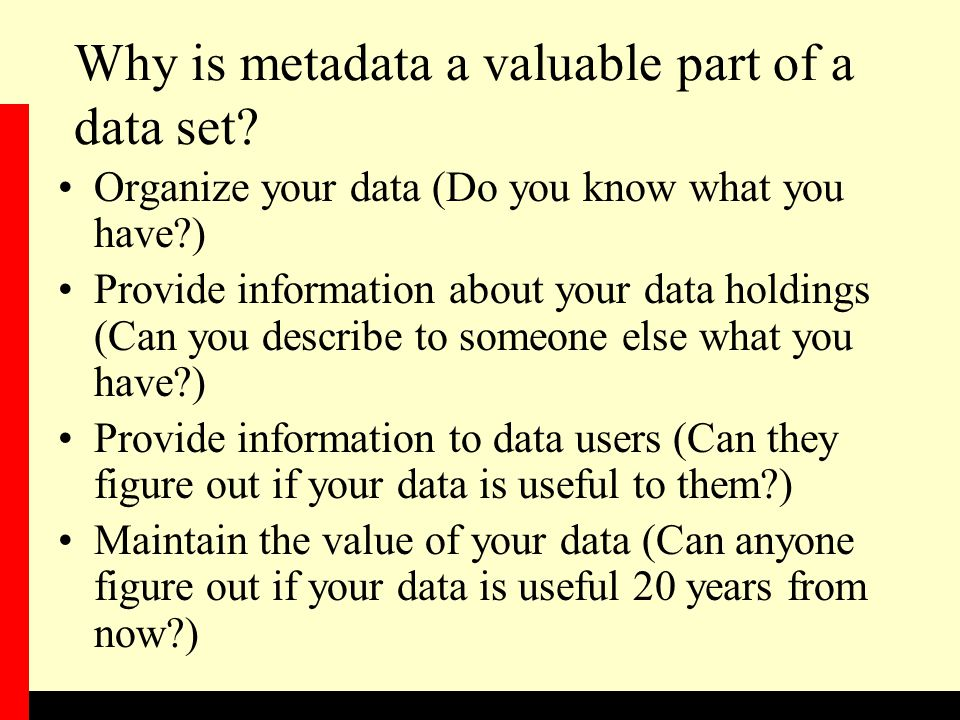 Why is metadata a valuable part of a data set.
