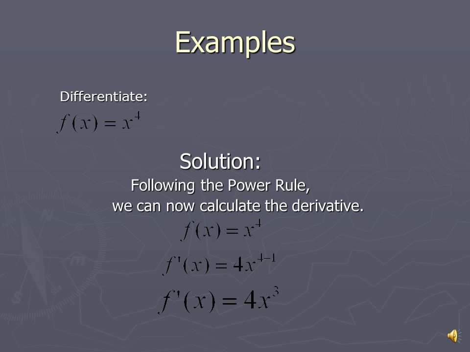 If, then More basic derivative formulas Logarithm Rule Exponential Rule