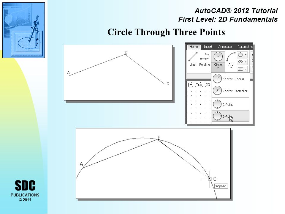 SDC PUBLICATIONS © 2011 AutoCAD® 2012 Tutorial First Level: 2D Fundamentals Circle Through Three Points