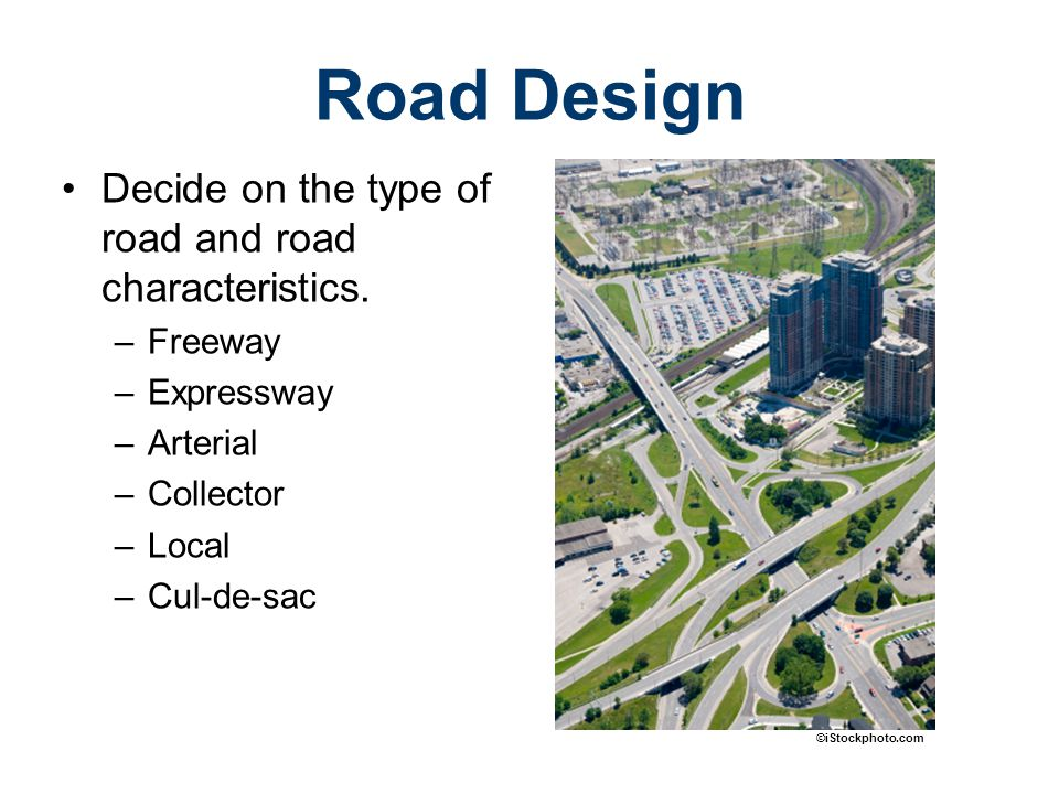Road designed for high speeds Possesses no at-grade intersections –Intersections are separated by grade or connected by interchanges Freeway US.