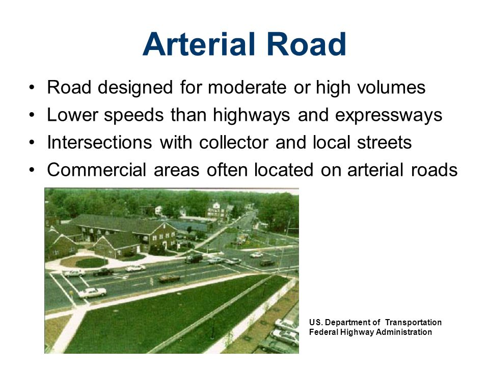 Low or moderate capacity road Leads traffic to activity areas within a community Intersects with arterial roads and local roads Collector Street US.