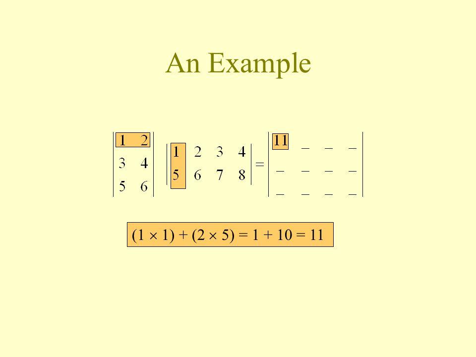 (1  1) + (2  5) = 1 + 10 = 11