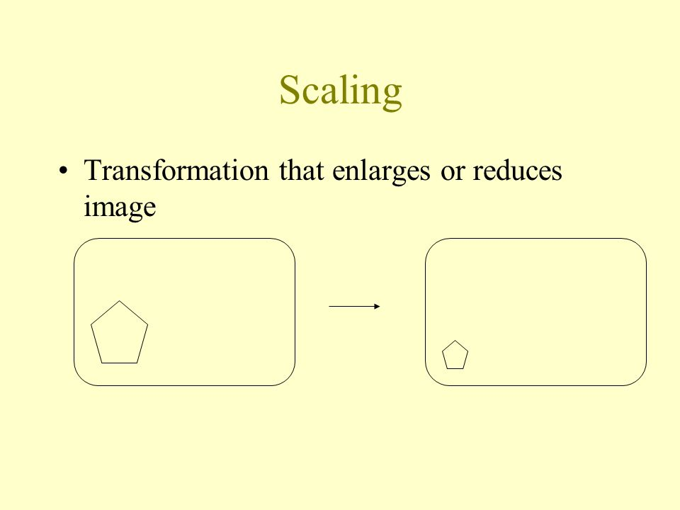Scaling Transformation that enlarges or reduces image