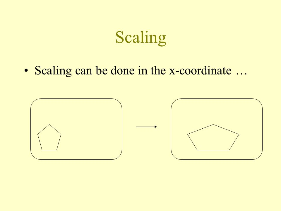 Scaling Scaling can be done in the x-coordinate …
