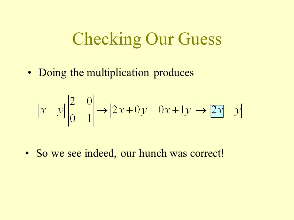 Checking Our Guess So we see indeed, our hunch was correct! Doing the multiplication produces