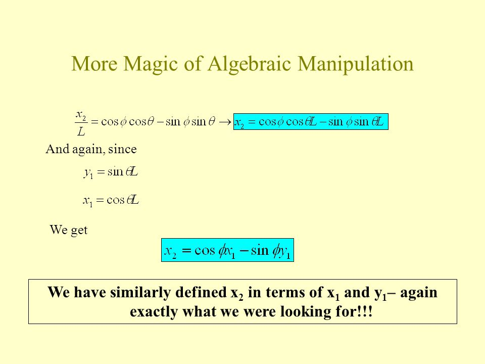 More Magic of Algebraic Manipulation And again, since We get We have similarly defined x 2 in terms of x 1 and y 1 – again exactly what we were looking for!!!