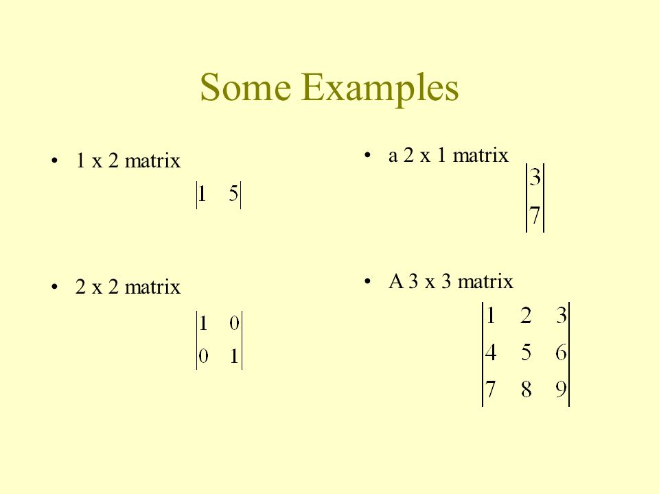 1 x 2 matrix 2 x 2 matrix a 2 x 1 matrix A 3 x 3 matrix Some Examples