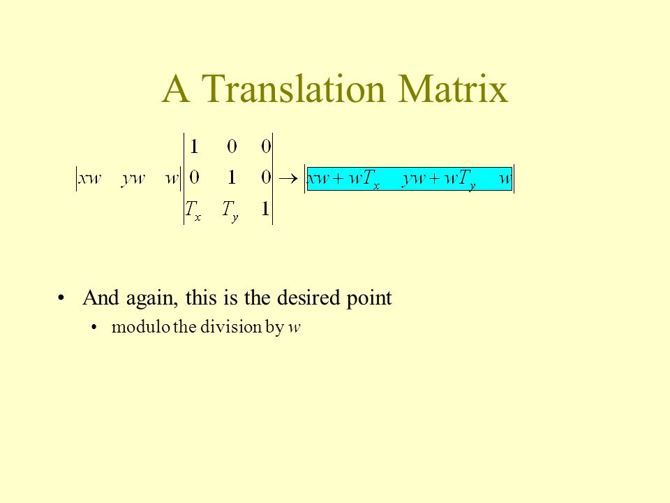 A Translation Matrix And again, this is the desired point modulo the division by w