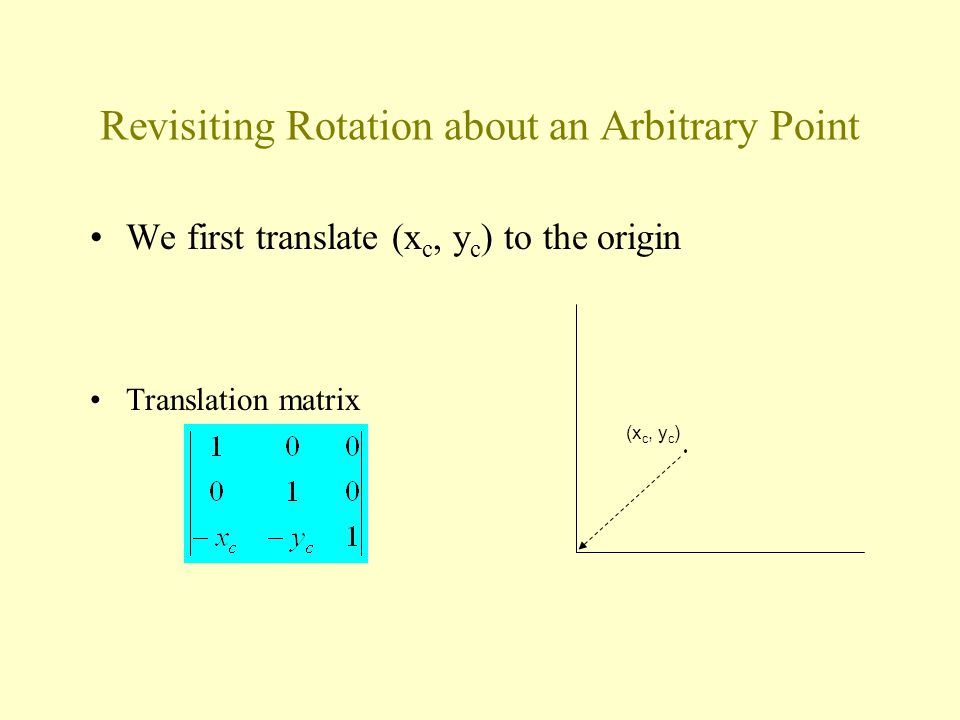 Revisiting Rotation about an Arbitrary Point We first translate (x c, y c ) to the origin Translation matrix (x c, y c )