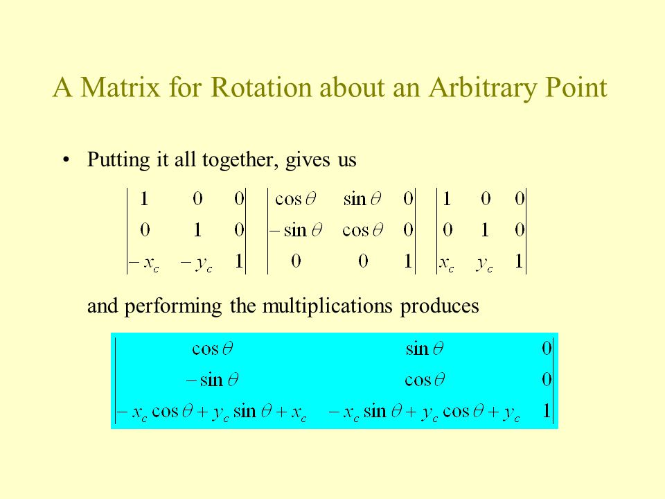 A Matrix for Rotation about an Arbitrary Point Putting it all together, gives us and performing the multiplications produces