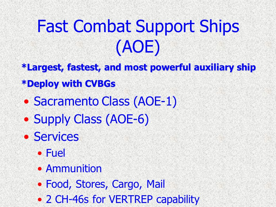 Combat Stores Ships (AFS) Mars Class (TAFS-1) Sirius Class (TAFS-8) Services Food (Refrigerated and Frozen) Stores, Cargo Mail