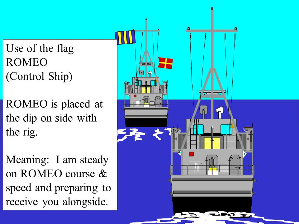 USE OF FLAG Approach ship takes station in waiting station 300-500 yards astern of control ship and waits for further instruction from control ship