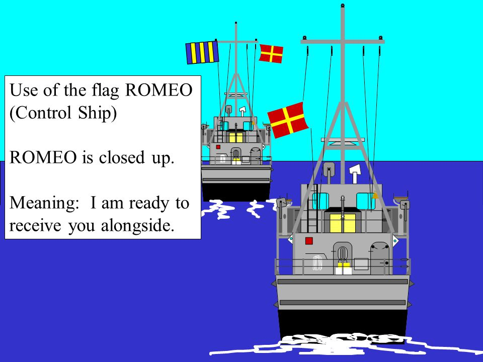 Signals While in Waiting Station Control ShipApproach Ship Ready to come alongside as indicated by side of Romeo Flag