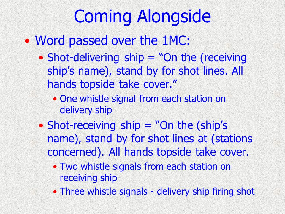 Coming Alongside Slow to Romeo speed as necessary Switch to RPM engine orders Line up the rigs Line-throwing guns on Delivery ship send over messenger