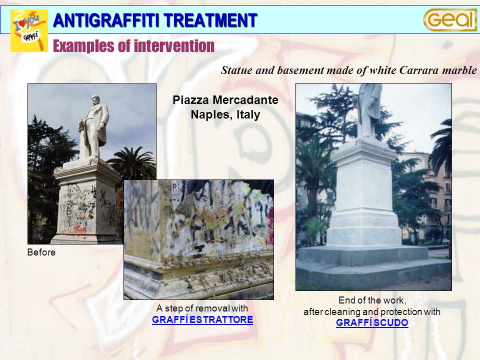 ANTIGRAFFITI TREATMENT Before A step of removal with GRAFFÍ ESTRATTORE Piazza Mercadante Naples, Italy End of the work, after cleaning and protection with GRAFFÍ SCUDO Statue and basement made of white Carrara marble Examples of intervention