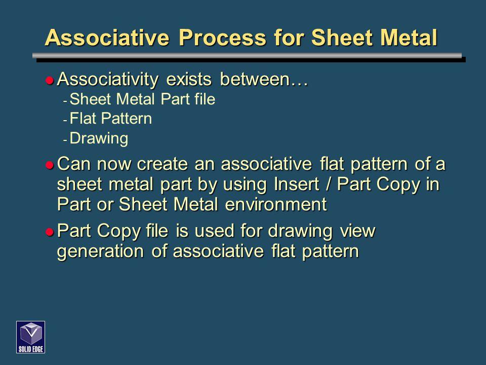 Associative Process for Sheet Metal Associativity exists between… Associativity exists between… - Sheet Metal Part file - Flat Pattern - Drawing Can n
