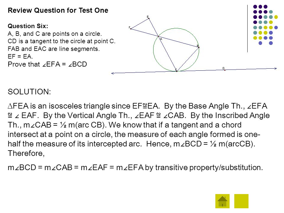 Review Question for Test One Question Six: A, B, and C are points on a circle. CD is a tangent to the circle at point C. FAB and EAC are line segments