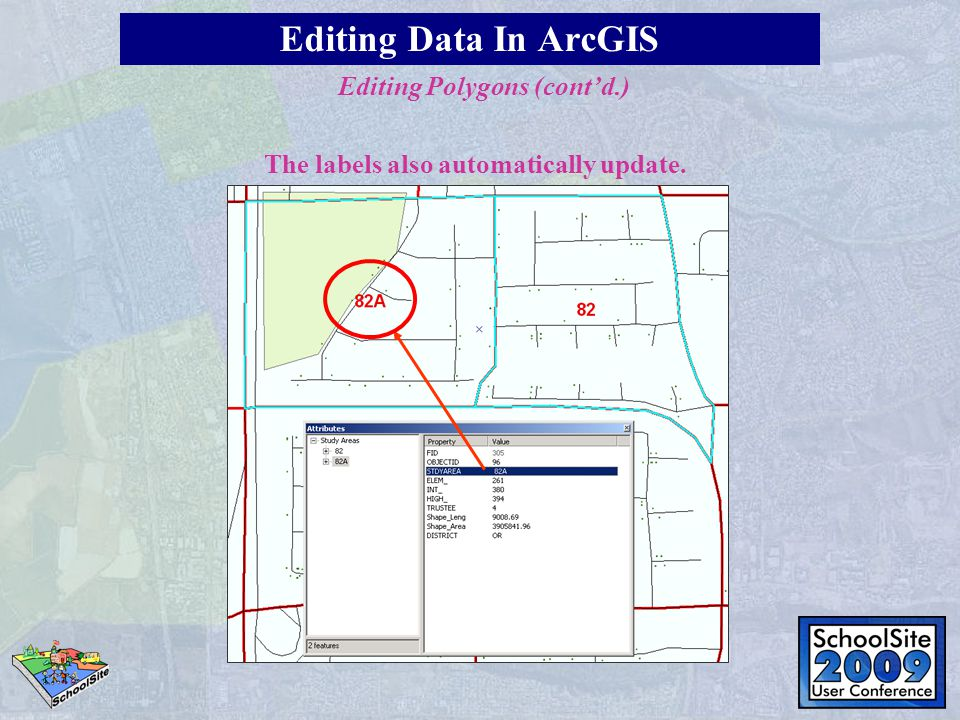 The labels also automatically update. Editing Data In ArcGIS Editing Polygons (cont'd.)