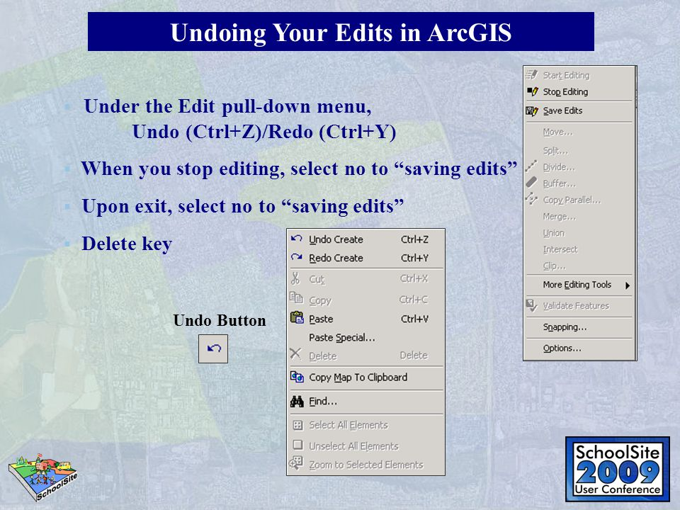Undoing Your Edits in ArcGIS Undo Button   Under the Edit pull-down menu, Undo (Ctrl+Z)/Redo (Ctrl+Y)  When you stop editing, select no to saving edits  Upon exit, select no to saving edits  Delete key