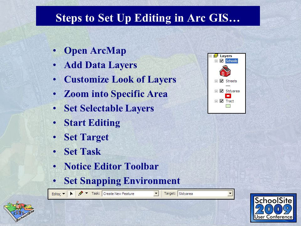 Open ArcMap Add Data Layers Customize Look of Layers Zoom into Specific Area Set Selectable Layers Start Editing Set Target Set Task Notice Editor Toolbar Set Snapping Environment Steps to Set Up Editing in Arc GIS…