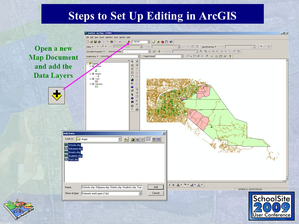 Open a new Map Document and add the Data Layers ArcView Steps to Set Up Editing in ArcGIS