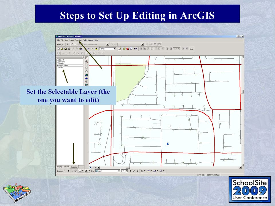 Set the Selectable Layer (the one you want to edit) ArcView Steps to Set Up Editing in ArcGIS