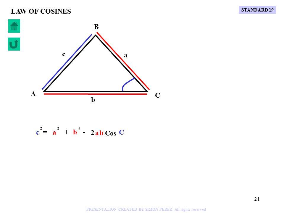 20 C B A b a c LAW OF COSINES Cos B b = 2 a + - 2 a 2 c c 2 STANDARD 19 PRESENTATION CREATED BY SIMON PEREZ.