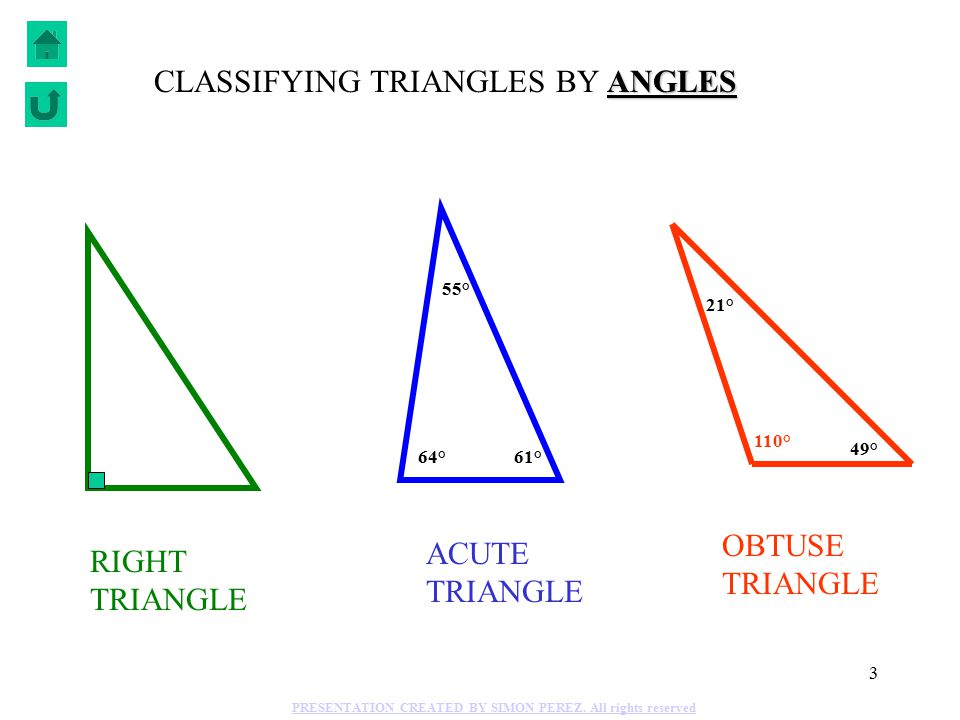 3 55° 64°61° 110° 21° 49° RIGHT TRIANGLE ACUTE TRIANGLE OBTUSE TRIANGLE ANGLES CLASSIFYING TRIANGLES BY ANGLES PRESENTATION CREATED BY SIMON PEREZ.