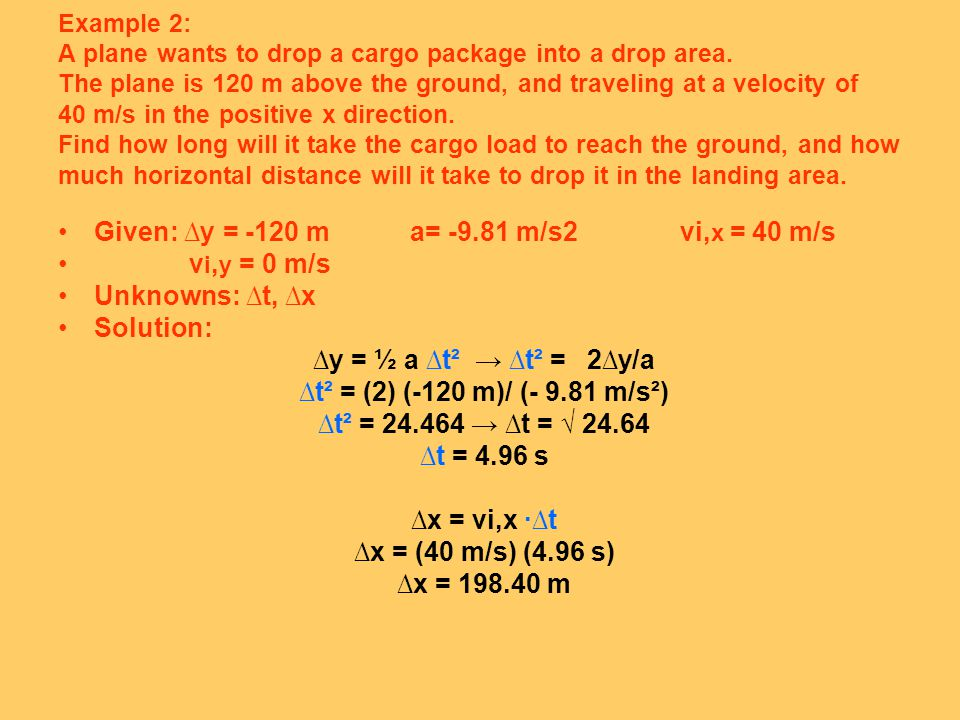 Example 2: A plane wants to drop a cargo package into a drop area.