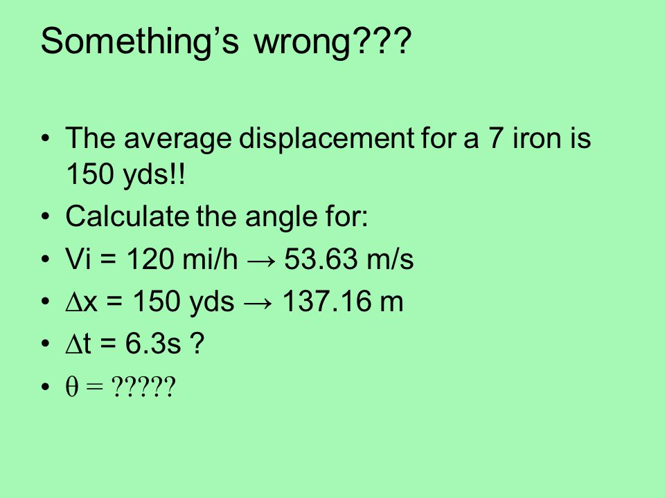 Something's wrong??.The average displacement for a 7 iron is 150 yds!.