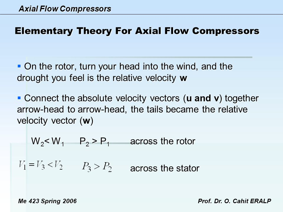 Axial Flow Compressors Me 423 Spring 2006Prof. Dr. O. Cahit ERALP Elementary Theory For Axial Flow Compressors  On the rotor, turn your head into the