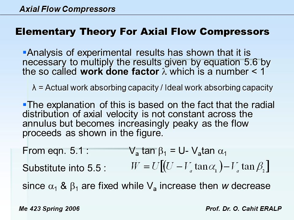 Axial Flow Compressors Me 423 Spring 2006Prof. Dr. O. Cahit ERALP Elementary Theory For Axial Flow Compressors  Analysis of experimental results has