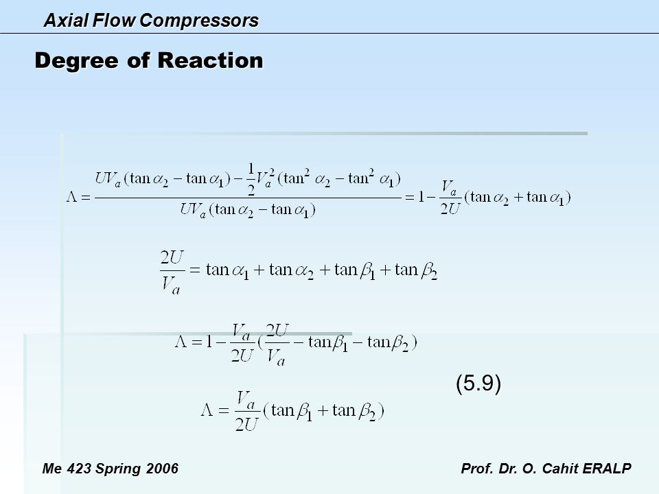Axial Flow Compressors Me 423 Spring 2006Prof. Dr. O. Cahit ERALP Degree of Reaction (5.9) (5.9)