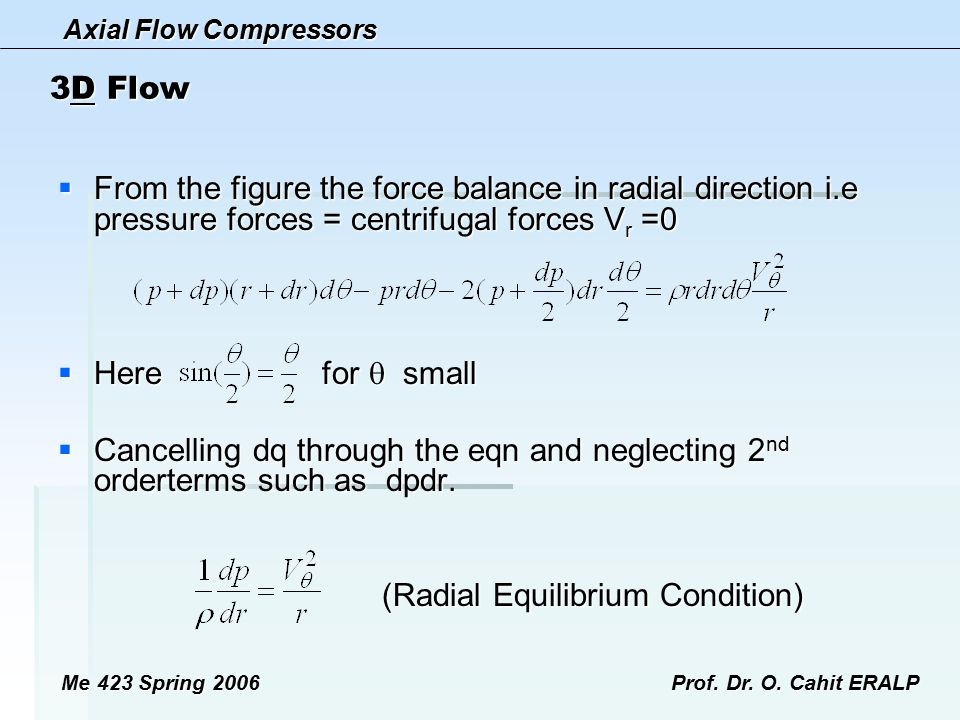 Axial Flow Compressors Me 423 Spring 2006Prof. Dr. O. Cahit ERALP 3D Flow  From the figure the force balance in radial direction i.e pressure forces