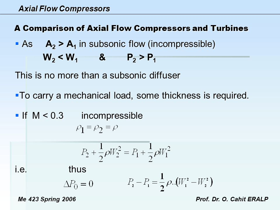 Axial Flow Compressors Me 423 Spring 2006Prof. Dr. O. Cahit ERALP A Comparison of Axial Flow Compressors and Turbines  As A 2 > A 1 in subsonic flow