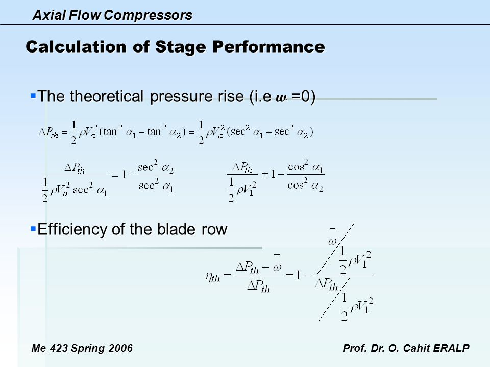 Axial Flow Compressors Me 423 Spring 2006Prof. Dr. O. Cahit ERALP Calculation of Stage Performance  The theoretical pressure rise (i.e w =0)  Effici