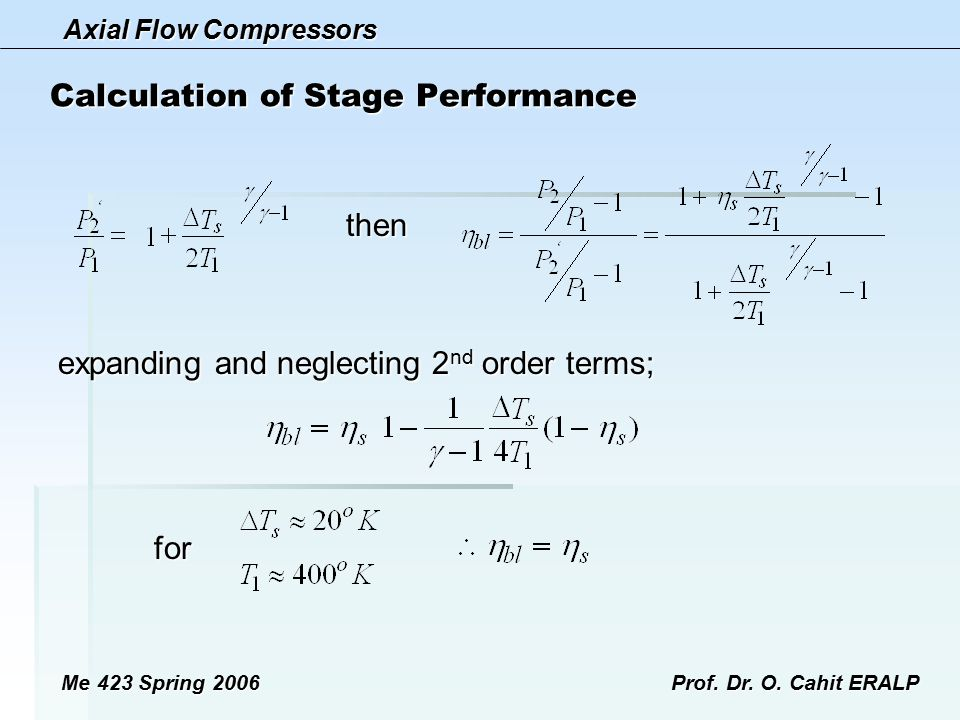 Axial Flow Compressors Me 423 Spring 2006Prof. Dr. O. Cahit ERALP Calculation of Stage Performance then expanding and neglecting 2 nd order terms; for