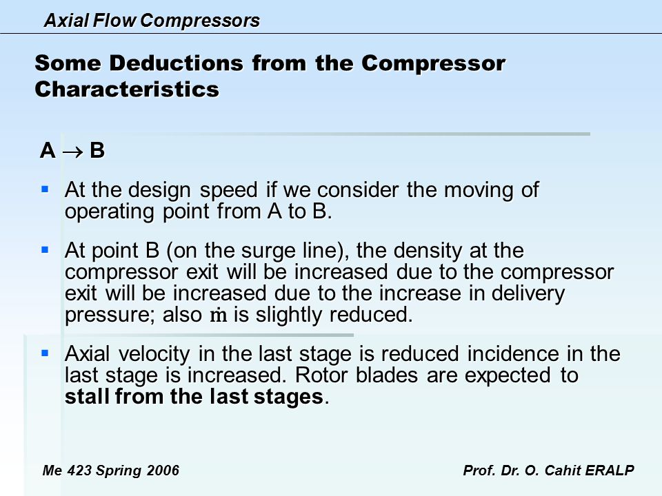 Axial Flow Compressors Me 423 Spring 2006Prof. Dr. O. Cahit ERALP Some Deductions from the Compressor Characteristics A  B  At the design speed if w